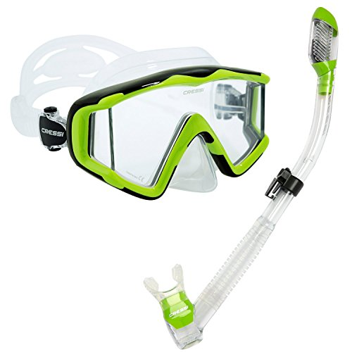 Cressi Panoramic Wide View 3 Panel Mask Dry Snorkel Set, Lime Green/Clear Silicone