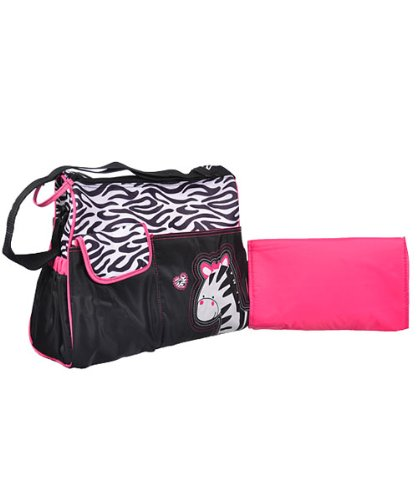 Hot Pink and Black Zebra Cute Baby Animal Diaper Bag for Girls