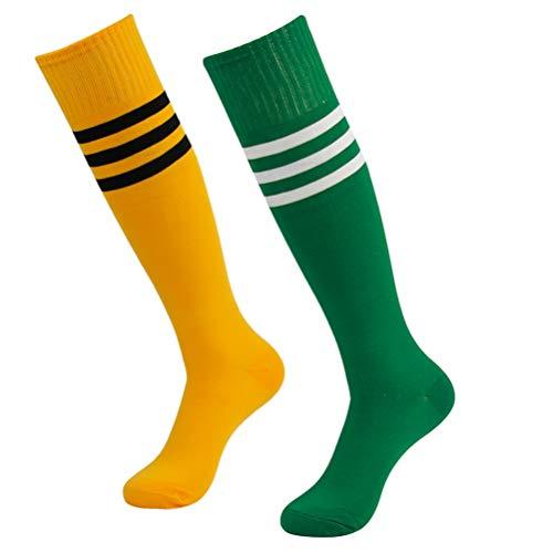 Handball Adult Socks,saillsen Long Striped Knee High Over Calf Baseball Basktball Football Volleyball Team Sports Socks for Women & Men 2 Pairs Yellow+Black Stripe&Green+White Stripe