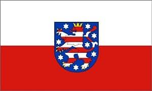 Bandera de Turingia con escudo Bandera, Tamaño: Aprox. 90x 150cm, orden tliche–Calidad pesado–Plástico–No hauchdünne China Ware–Peso de la tela aprox. 110gr/m2