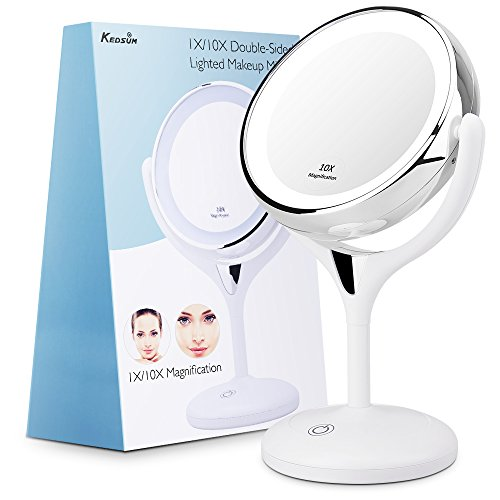 Double Sided Lighted Makeup Mirror (KEDSUM 1X/10X Double Sided Lighted Makeup Mirror, 360 Degree Swivel Tabletop Vanity Mirror,Cosmetic Regular/Magnifying Mirror with Lights,with 3.2inch Height ,Dimmable Touch Button,Dual Power Supply)