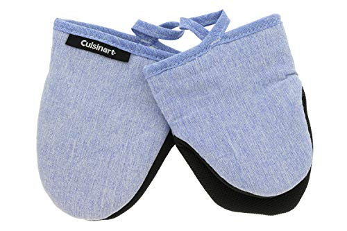 Cuisinart Chambray Neoprene Mini Oven Mitts, 2pk – Heat Resistant Kitchen Gloves to Protect Hands & Surfaces w/ Non-Slip Grip & Hanging Loop –Ideal for Handling Cookware/Bakeware – Light Blue