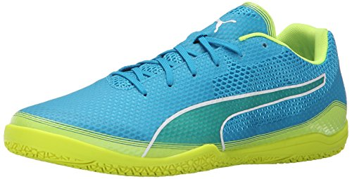 Contrast Leather Sneaker Yellow (PUMA Men's Invicto Fresh Sneaker, Atomic Blue/Safety Yellow/White, 13 D US)