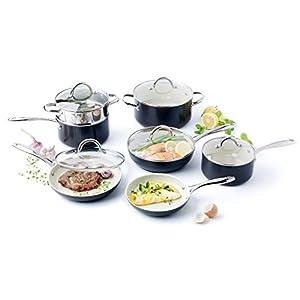 GreenPan Lima 3D I Love Cooking Ceramic Non-Stick 12 Piece Set, Cream