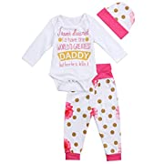 gllive Baby Girls Cotton Long Sleeve Blong To Daddy Bodysuit Pants Clothes Outfits Set+Hat (0-6 Months, Hot Pink)