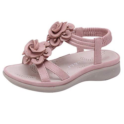 2019 Summer Deal! Vielgluck Flat Sandals for Children Flower Bohemian Open Toe Summer Fashion Waterproof Anti-Slip Beach Shoes