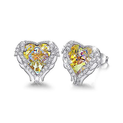 CDE Women's Stud Earrings Angel Wing Swarovski Heart Crystal Silver Jewelry Studs Gifts - Ab Swarovski Crystal Heart Earrings