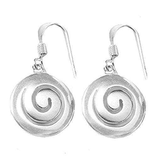 Sterling Silver Spira (Swirl) Minoan Motif Greek Earrings w/French Hooks (Swirl French Hook Earrings)