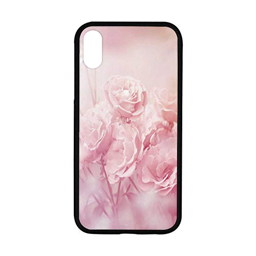 Rose Rubber Phone Case,Dreamlike Spring Nature Theme Blurry View Feminine Bouquets Gardening Bedding Plants Decorative Compatible with iPhone XR