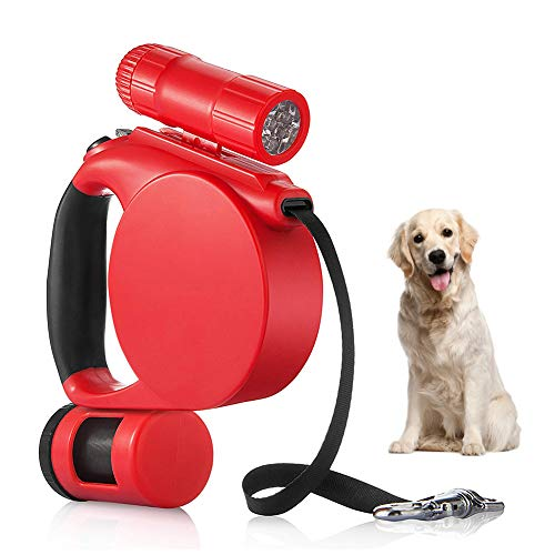 15 Foot Retractable Dog Leash - Retractable Dog Leash Heavy Duty Leashes Perfect for Large Medium Small Dog One Button Brake & Lock, Comfortable Hand Grip, Tangle Free with Anti-Slip Handle 15ft (Red)