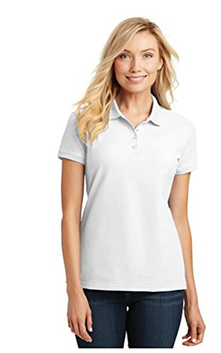 Classic Core Shorts - Port Authority Ladies Core Classic Pique Short Sleeved Golf Polo, X-Large, White