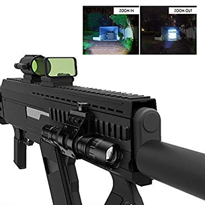 NULIPAM Tactical Flashlight, Zoomable Super Bright 1200Lumens IP65 Waterproof Rail Light for AR15 Airsoft Rifle with Offset Mount, Pressure Switch, 18650 Rechargeable Battery