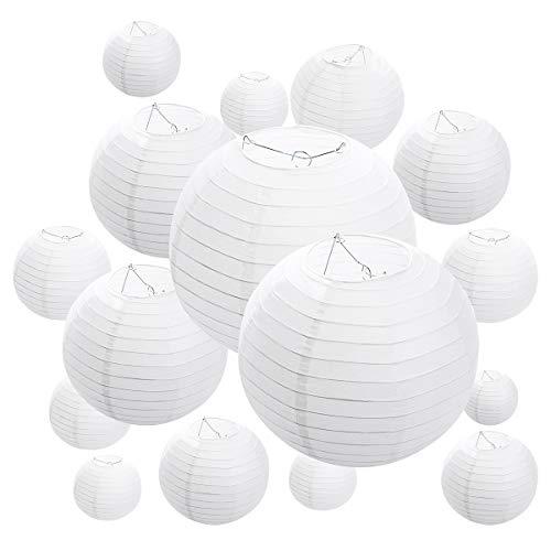 16 Packs White Paper Lanterns,Assorted Sizes, Paper Lantern