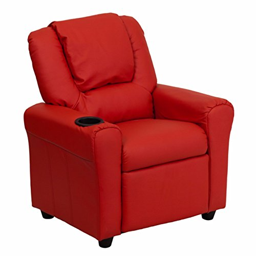 Winston Direct Kids Series Contemporary Vinyl Recliner with Cup Holder and Headrest - Red