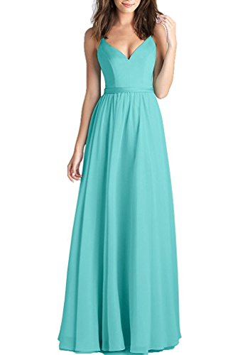 Chiffon V-neck Bridesmaid Dress (Women's Spaghetti Straps Long Chiffon Bridesmaid Dresses V Neck Wedding Prom Gown Size 2 Turquoise)