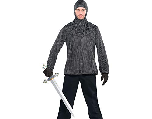 Amscan Chainmail Tunic and Cowl Halloween Costume Accessory for Men, One Size