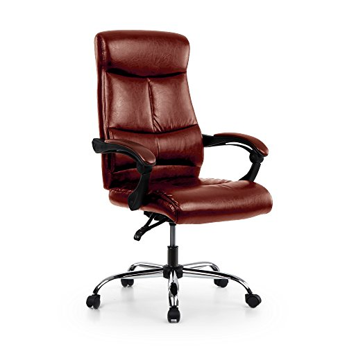 iKayaa Adjustable Executive Chair High Back Ergonomic PU Leather 90-170°Recliner Luxury Managerial Chair - Executive Coffee Service