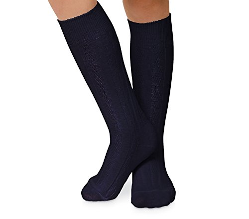 ns Cable Knit Knee High Socks 3 Pair Pack (Sock:9-11/Shoe:6-9, Navy) ()