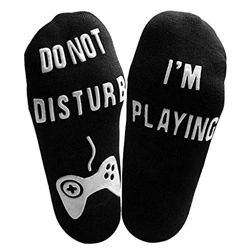 Socks, Do Not Disturb' Great Gamer Socks Woman Men Funny Letter Mid Calf High Socks Xmas Gift (Black, 1 Pair)