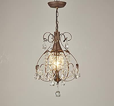 Broadway Antique Gold Classic Crystal Chandeliers Vintage style Lamps Pendant Light Fixture BL-AHJ/D-L1 W12 X H17 Inch