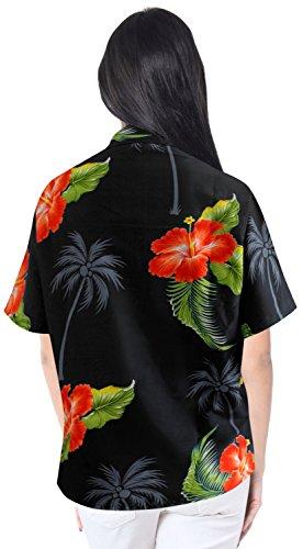 bot�n de abajo a la ropa de playa dep�sito de encubrir camisa hawaiana de manga corta blusa de las se�oras negro