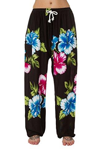 Pantalones harén–ALADDIN Hippie pantalones con cordón en la cintura Large Floral Blue Red