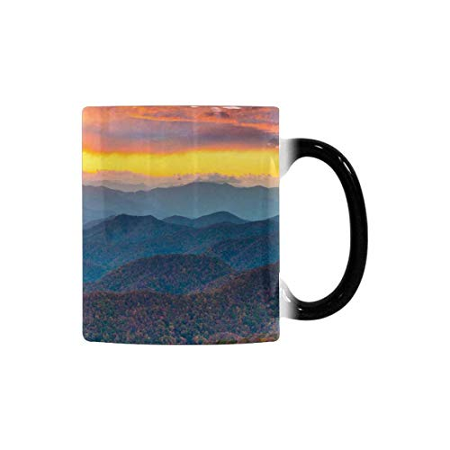 InterestPrint Funny Morphing Coffee Mug, Fall Foliage Mountains Sunset Scenic Landscape Heat Sensitive Color Changing Tea Cup Mug, 11oz Funny Mug for Employee Boss Coworker Friends