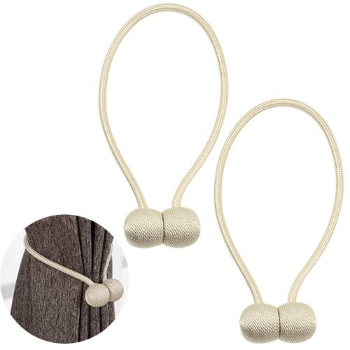XLX 2PCS(1 Pair) Curtain Buckle Modern Style Creative All Match Simple Curtain Magnet Weave Decorated Window Holdbacks for Living Room Bedroom Restaurant and Office (Beige)