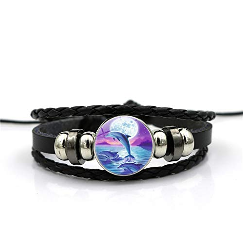 YUANOMSL Bracelet Blue Round Moon Marine Dolphin Animal Time Gemstone Bracelet Multi-Layer Woven Black Leather Handmade Beaded European and American Personality Fashion Jewelry