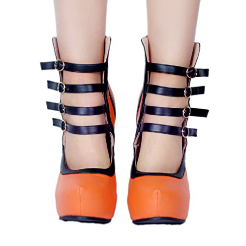 Heel High Orange CASSOCK Handmade Design Fashion Round Club Straps Buckles New Hot Prom Shoes Ladies Four Party Platform Toe nqHfwFHY