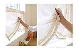 BECUTE Cotton Handmade Lace Cafe Curtain Kitchen Curtain Valances Window Curtain with Simple Design. Beige