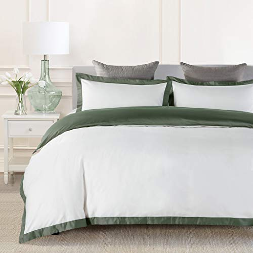 JOHNPEY Duvet Cover Queen Size White,1000TC Egyptian Cotton 3pc Hotel Bedding Set -Soft Comforter Cover,Sateen Weave,Button Closure,Room Decor for Men Women(Green/Off-White,Queen) (Cover Green White Duvet And)