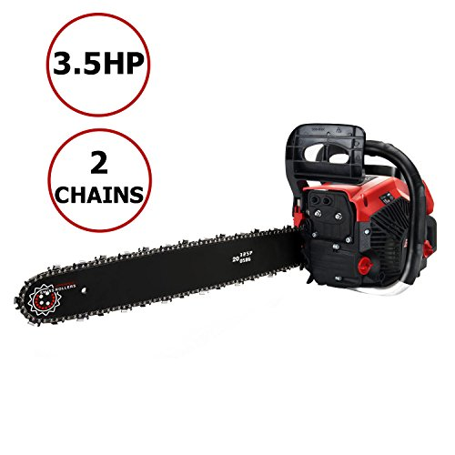 Meditool Chainsaw, 58CC 3.5HP Gasoline Gas Chainsaw, 20 Inch Gas Chainsaw with 2 Chains Tension and (Auto Chainsaw)