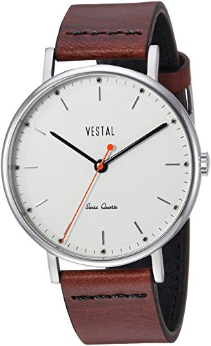 Vestal 'Sophisticate Leather' Swiss Quartz Stainless Steel and Man Made Dress Watch, Color:Brown (Model: SP42L08.CVBK)