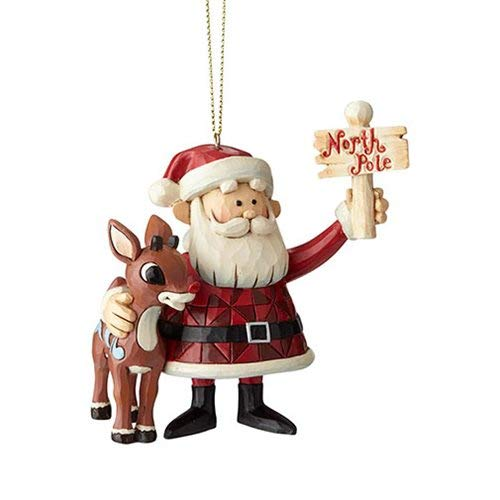 (Enesco Rudolph The Red Nosed Reindeer by Jim Shore Santa North Pole Hanging Ornament 3.7