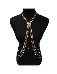 lureme® European and American Jewelry Sexy Golden Tassel Bikini Body Chain (01004105)