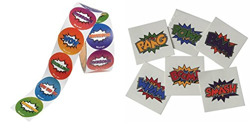 Novelty Treasures Fantastic Superhero Stickers (100) and Super Hero Tattoos -