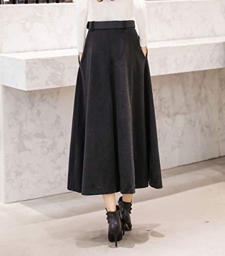 Laine Automne Jupe Taille lgant de Rtro Assortie Gris Longue Femme Unie Haute Hiver A Ligne Jupes Courroie Couleur plisse Chaud 40Zqw8