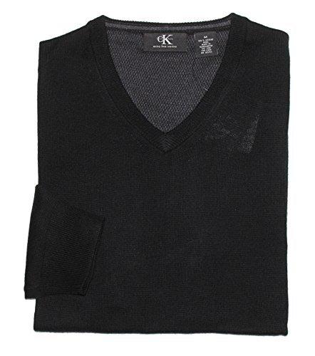 Calvin Klein Men's V-Neck Merino Wool Sweater (Large, ()