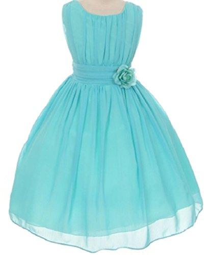 Big Girls' Classic Yoro Wrinkled Chiffon Special Flowers Girls Dresses Aqua Size 10 ()