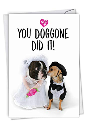 Married Dogs: Hilarious Wedding Congratulations Greeting Card Showing two dogs at the altar, with Envelope. C6898WDG