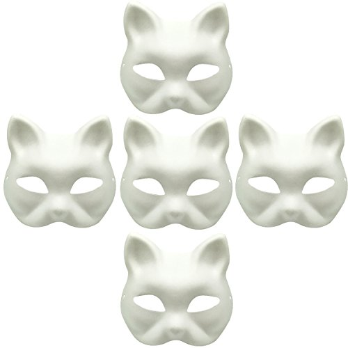 YangYong White Masks, 5PCS Children Unpainted DIY Half Face Kitsune Fox Cat Mask for Masquerade Parties
