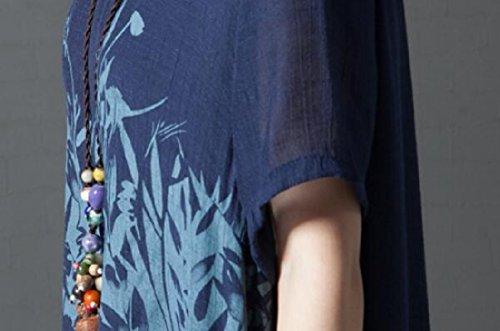 Coolred-femmes Faux Deux Pièces Imprimé Floral Toile De Coton Ourlet Irrégulière Bleu Marine Douce