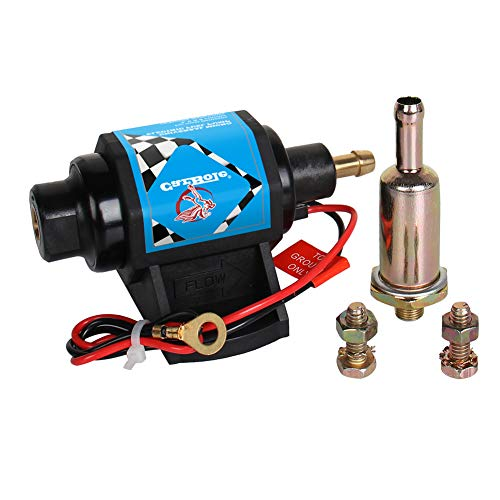 - CarBole Micro Electric Gasoline Fuel Pump Universal 5/16 inch Inlet and Outlet 12V 1-2A 35GPH 4-7 P.S.I. Operating Fuel Pressure 2-wire Design