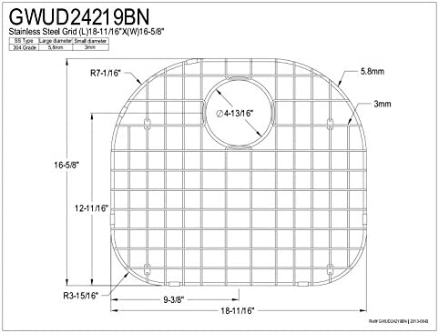 Kingston Brass Gourmetier GWUD24219BN Grid for KUD24219BN and GKUS2321 18.7-Inch Length by 16.6-Inch Width, Stainless Steel