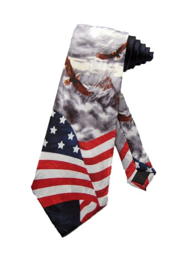 Steven Harris Men's American Bald Eagles USA Flag Necktie - Grey - One Size Neck Tie