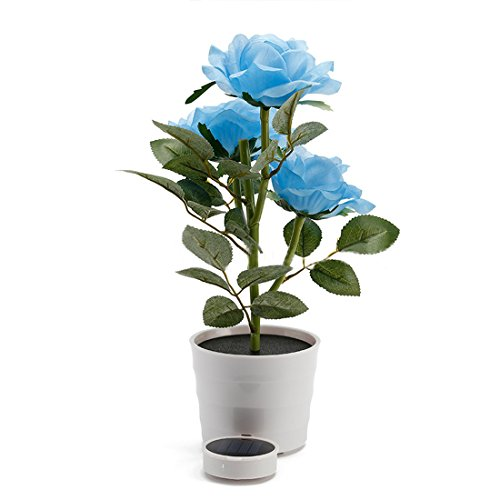 Penfly LED Wireless Solar Power Decorative Artificial Rose Flower Pot Plant Landscape Light Night Lamp Outdoor Garden Yard Pathway Lawn Grassland Blue