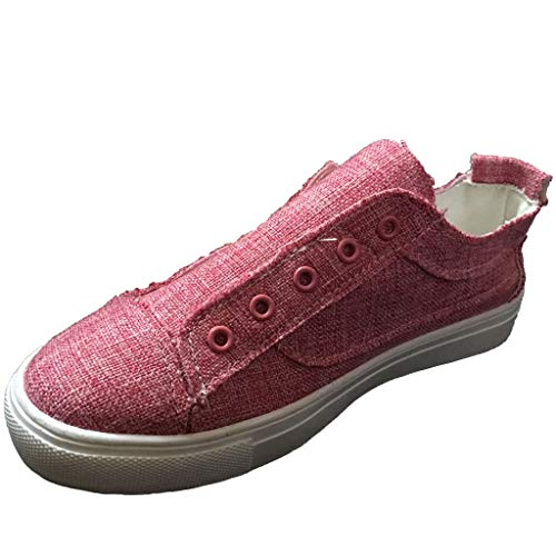 Womens Canvas Shoes Flat Sports Running Shoes Summer Zipper Beach Shoes Casual Single Shoes by ONLY TOP Red