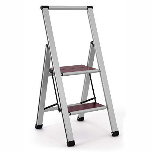 (Aluminum Folding 2 Step Ladder, Anti Slip, Sturdy, Lightweight and Slim Design (Wood, 2-Step))