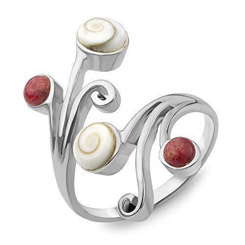 (Sterling Silver Shiva Eye Red Bamboo Sea Coral Vine Leaves Wrap around Band Ring Adjustable Size)